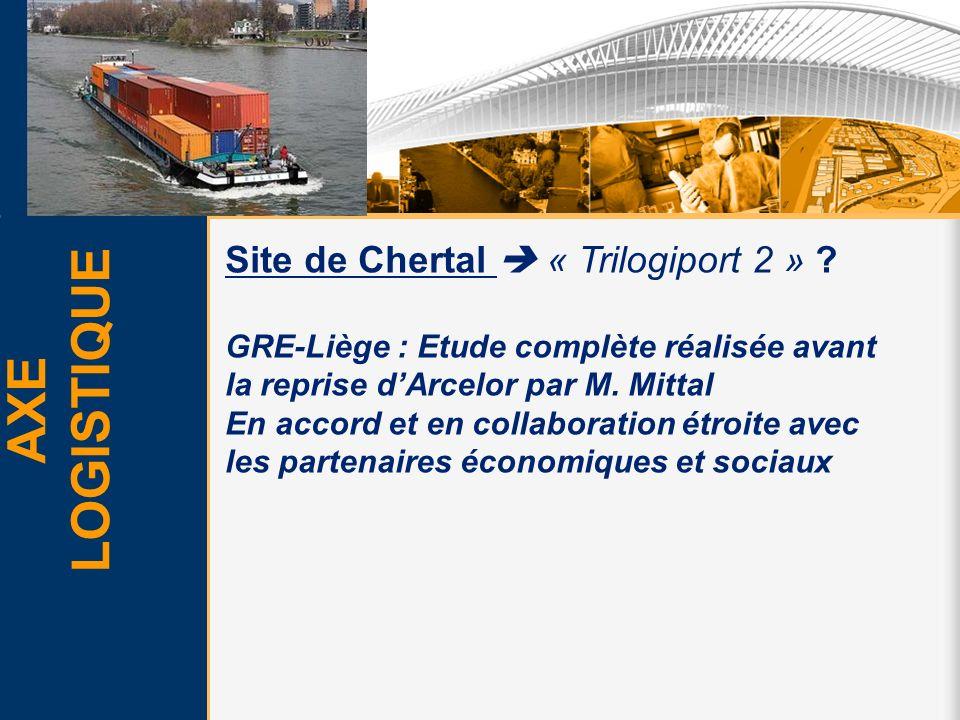 AXE LOGISTIQUE Site de Chertal « Trilogiport 2 » ? GRE-Liège : Etude complète réalisée avant la reprise dArcelor par M. Mittal En accord et en collabo