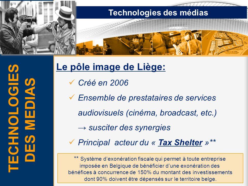 Technologies des médias Le pôle image de Liège: Créé en 2006 Ensemble de prestataires de services audiovisuels (cinéma, broadcast, etc.) susciter des