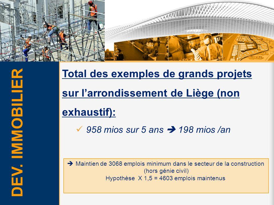 Total des exemples de grands projets sur larrondissement de Liège (non exhaustif): 958 mios sur 5 ans 198 mios /an Maintien de 3068 emplois minimum da