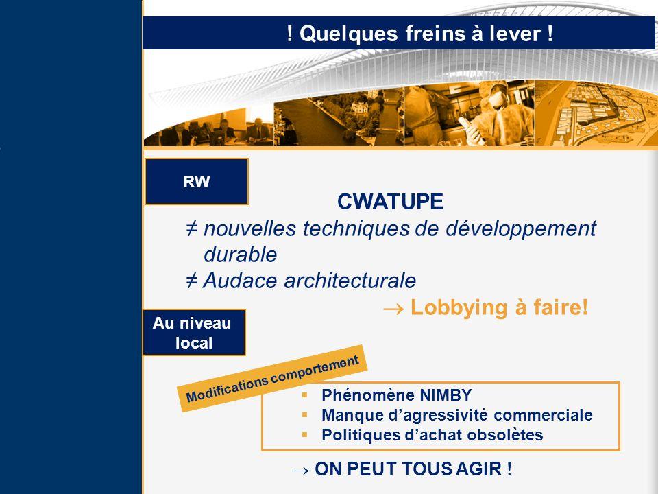 ! Quelques freins à lever ! RW CWATUPE nouvelles techniques de développement durable Audace architecturale Lobbying à faire! Phénomène NIMBY Manque da
