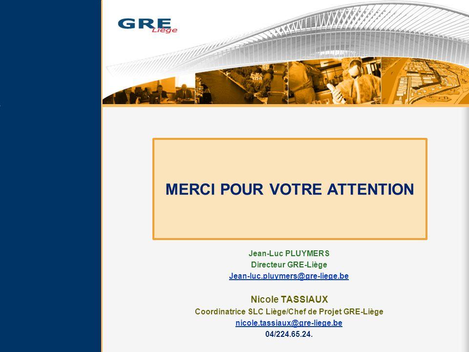 Jean-Luc PLUYMERS Directeur GRE-Liège Jean-luc.pluymers@gre-liege.be Nicole TASSIAUX Coordinatrice SLC Liège/Chef de Projet GRE-Liège nicole.tassiaux@