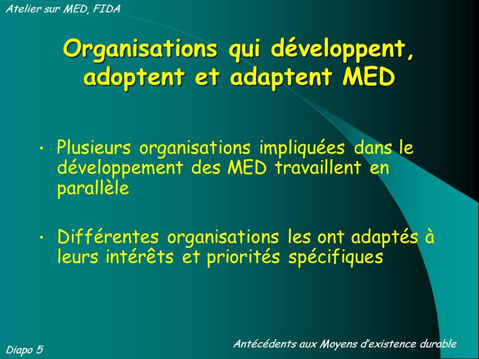 Organisations qui développent, adoptent et adaptent MED Plusieurs organisations impliquées dans le développement des MED travaillent en parallèle Différentes organisations les ont adaptés à leurs intérêts et priorités spécifiques Diapo 5 Antécédents aux Moyens dexistence durable Atelier sur MED, FIDA