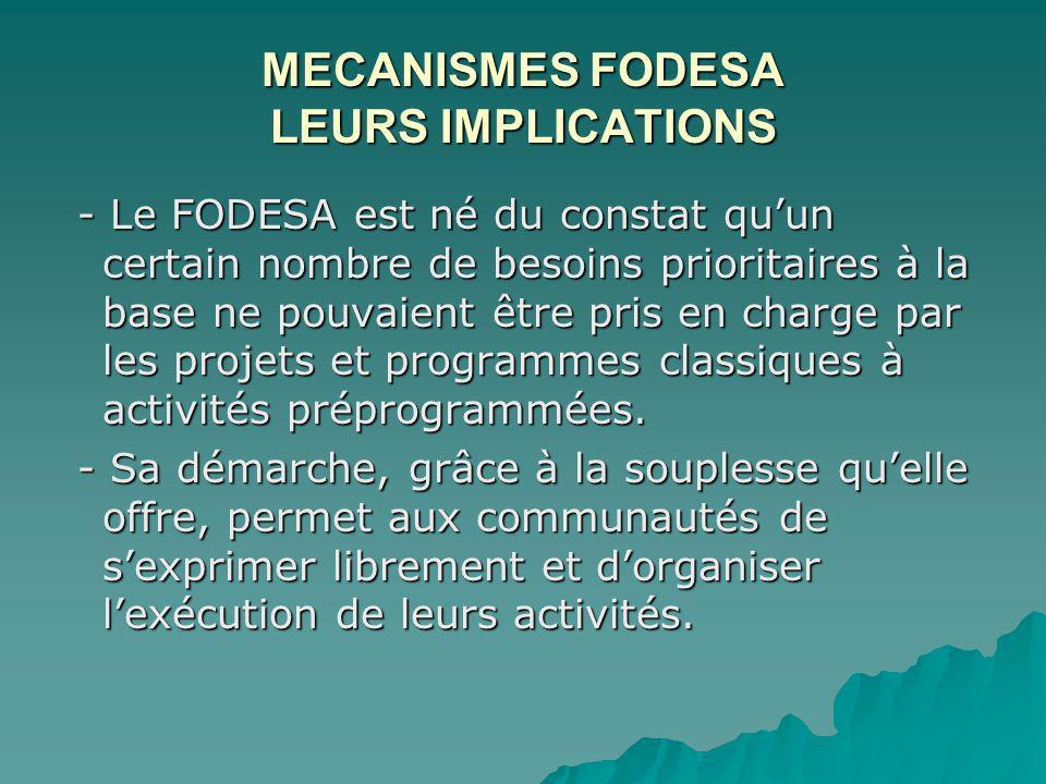 MECANISMES FODESA LEURS IMPLICATIONS - Le FODESA est né du constat quun certain nombre de besoins prioritaires à la base ne pouvaient être pris en charge par les projets et programmes classiques à activités préprogrammées.