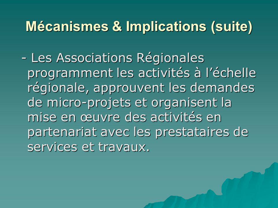 Mécanismes & Implications (suite) - Les Associations Régionales programment les activités à léchelle régionale, approuvent les demandes de micro-projets et organisent la mise en œuvre des activités en partenariat avec les prestataires de services et travaux.