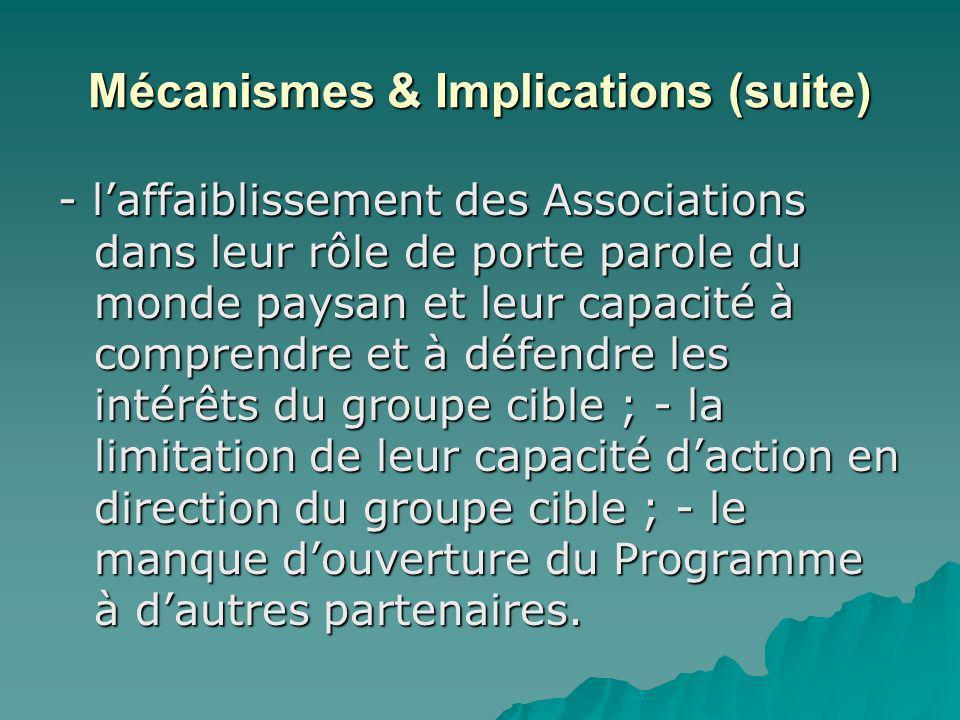 Mécanismes & Implications (suite) - laffaiblissement des Associations dans leur rôle de porte parole du monde paysan et leur capacité à comprendre et