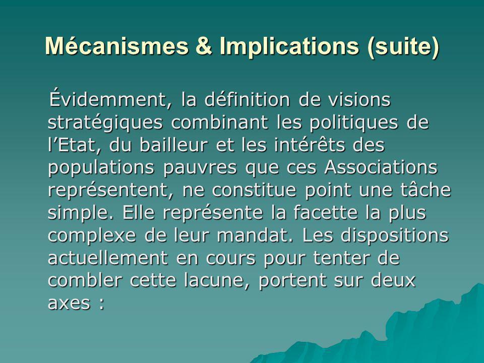 Mécanismes & Implications (suite) Évidemment, la définition de visions stratégiques combinant les politiques de lEtat, du bailleur et les intérêts des populations pauvres que ces Associations représentent, ne constitue point une tâche simple.