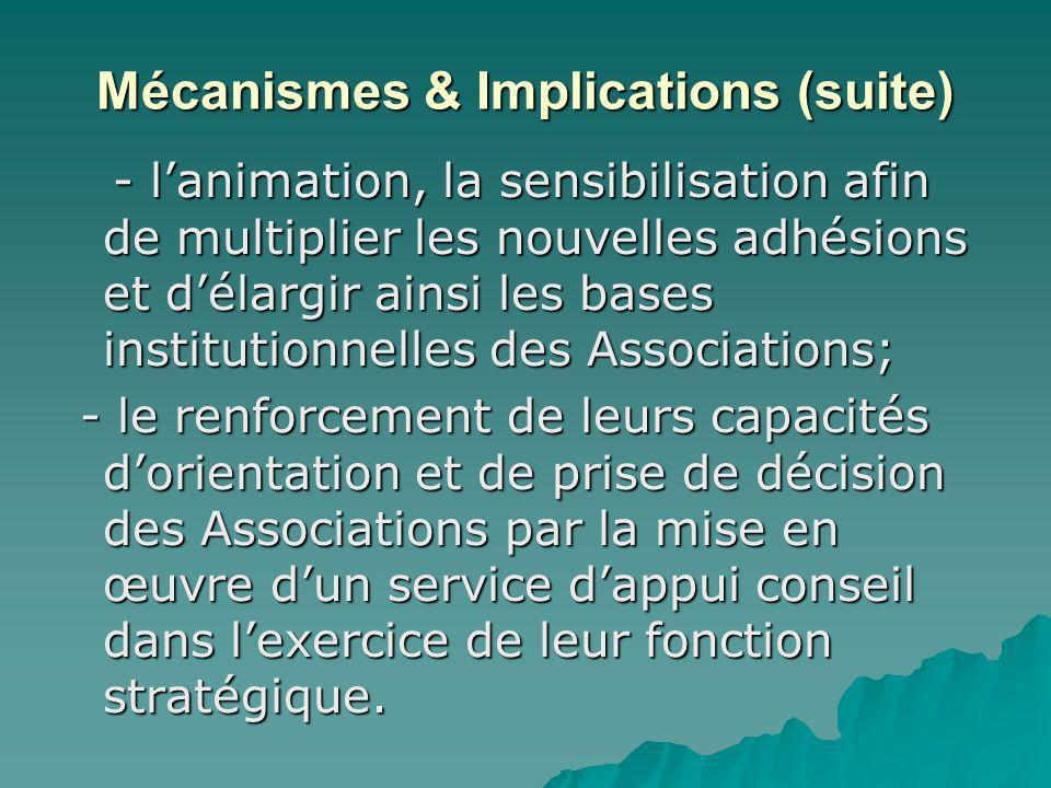 Mécanismes & Implications (suite) - lanimation, la sensibilisation afin de multiplier les nouvelles adhésions et délargir ainsi les bases institutionn