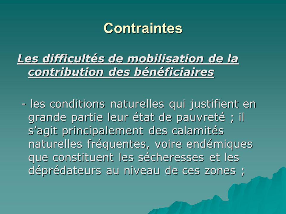 Contraintes Les difficultés de mobilisation de la contribution des bénéficiaires Les difficultés de mobilisation de la contribution des bénéficiaires