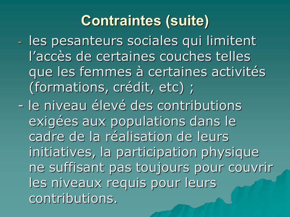 Contraintes (suite) - les pesanteurs sociales qui limitent laccès de certaines couches telles que les femmes à certaines activités (formations, crédit