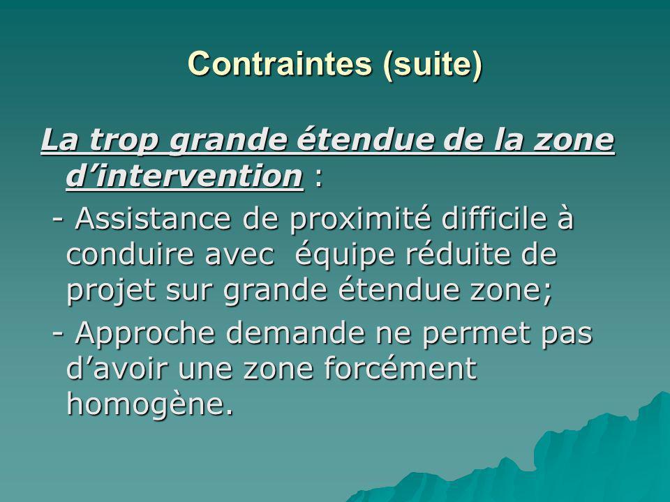 Contraintes (suite) La trop grande étendue de la zone dintervention : - Assistance de proximité difficile à conduire avec équipe réduite de projet sur