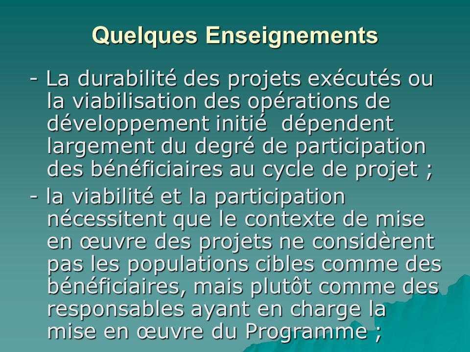 Quelques Enseignements - La durabilité des projets exécutés ou la viabilisation des opérations de développement initié dépendent largement du degré de