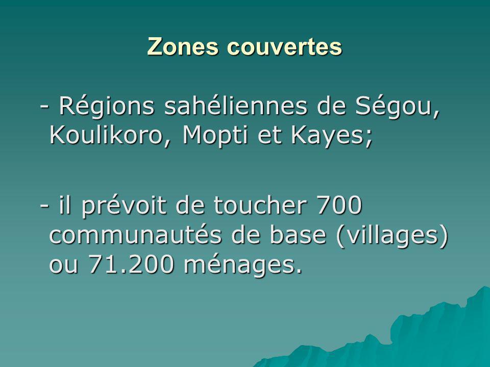 Zones couvertes - Régions sahéliennes de Ségou, Koulikoro, Mopti et Kayes; - Régions sahéliennes de Ségou, Koulikoro, Mopti et Kayes; - il prévoit de toucher 700 communautés de base (villages) ou 71.200 ménages.
