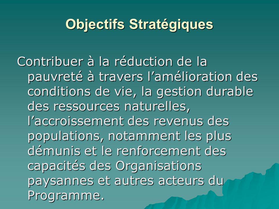 Objectifs Stratégiques Contribuer à la réduction de la pauvreté à travers lamélioration des conditions de vie, la gestion durable des ressources natur