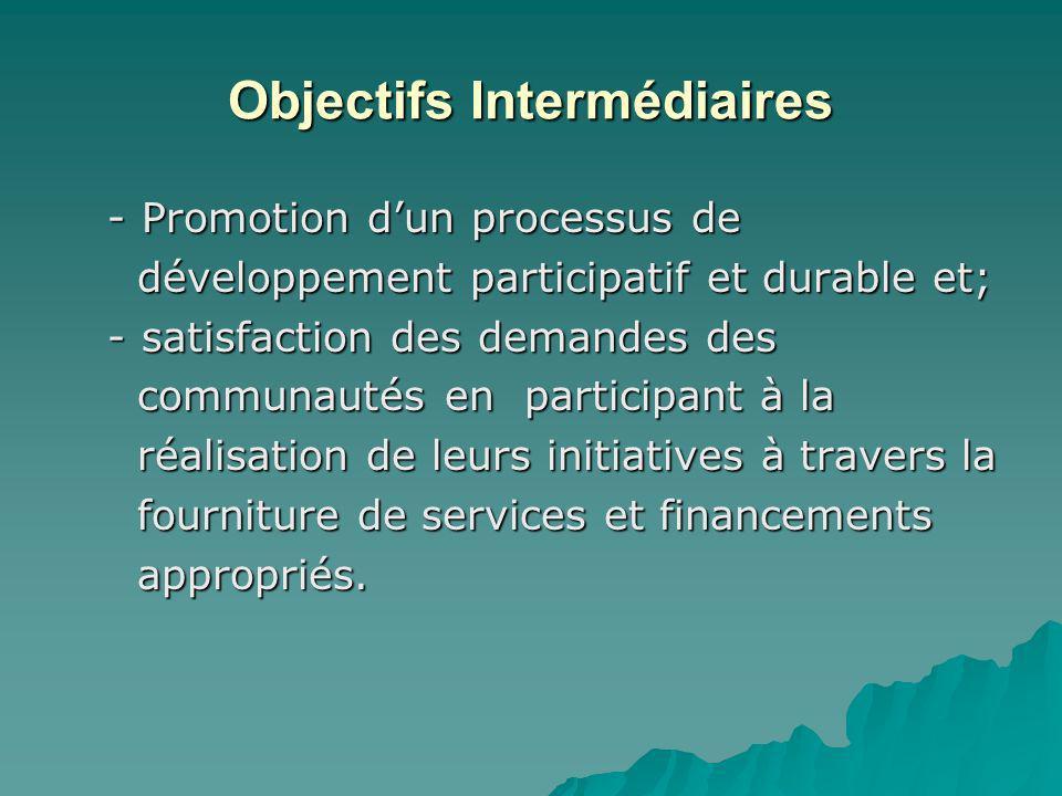 Objectifs Intermédiaires - Promotion dun processus de - Promotion dun processus de développement participatif et durable et; développement participati