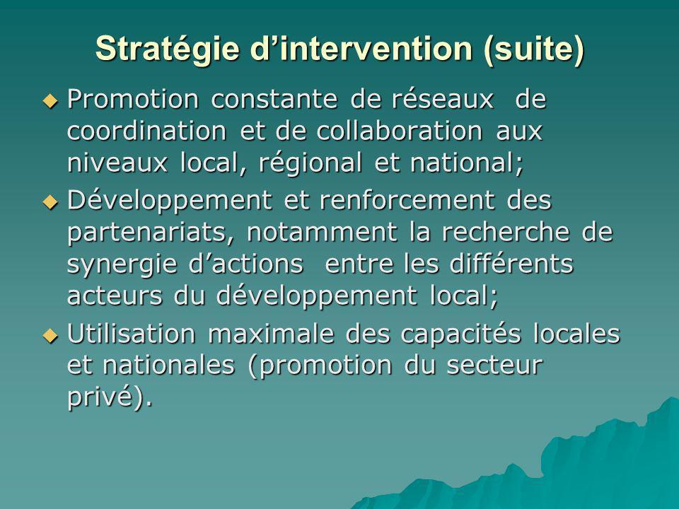 Stratégie dintervention (suite) Promotion constante de réseaux de coordination et de collaboration aux niveaux local, régional et national; Promotion