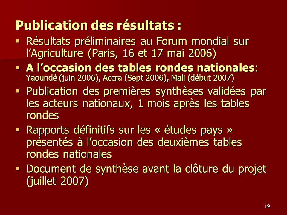 19 Publication des résultats : Résultats préliminaires au Forum mondial sur lAgriculture (Paris, 16 et 17 mai 2006) Résultats préliminaires au Forum m