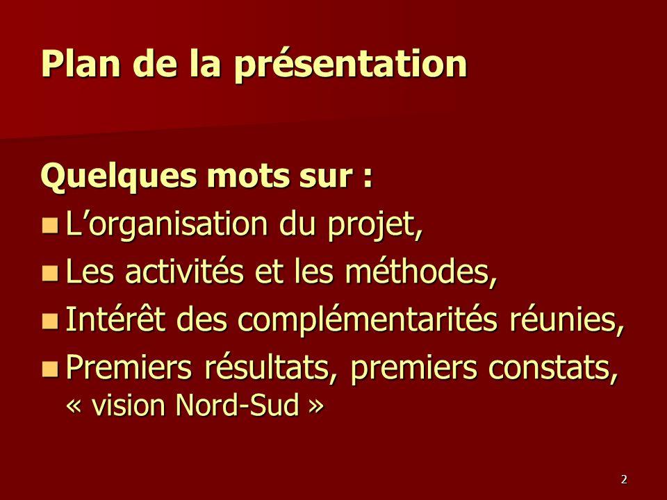 2 Plan de la présentation Quelques mots sur : Lorganisation du projet, Lorganisation du projet, Les activités et les méthodes, Les activités et les mé