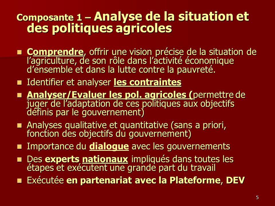 5 Composante 1 – Analyse de la situation et des politiques agricoles Comprendre, offrir une vision précise de la situation de lagriculture, de son rôl