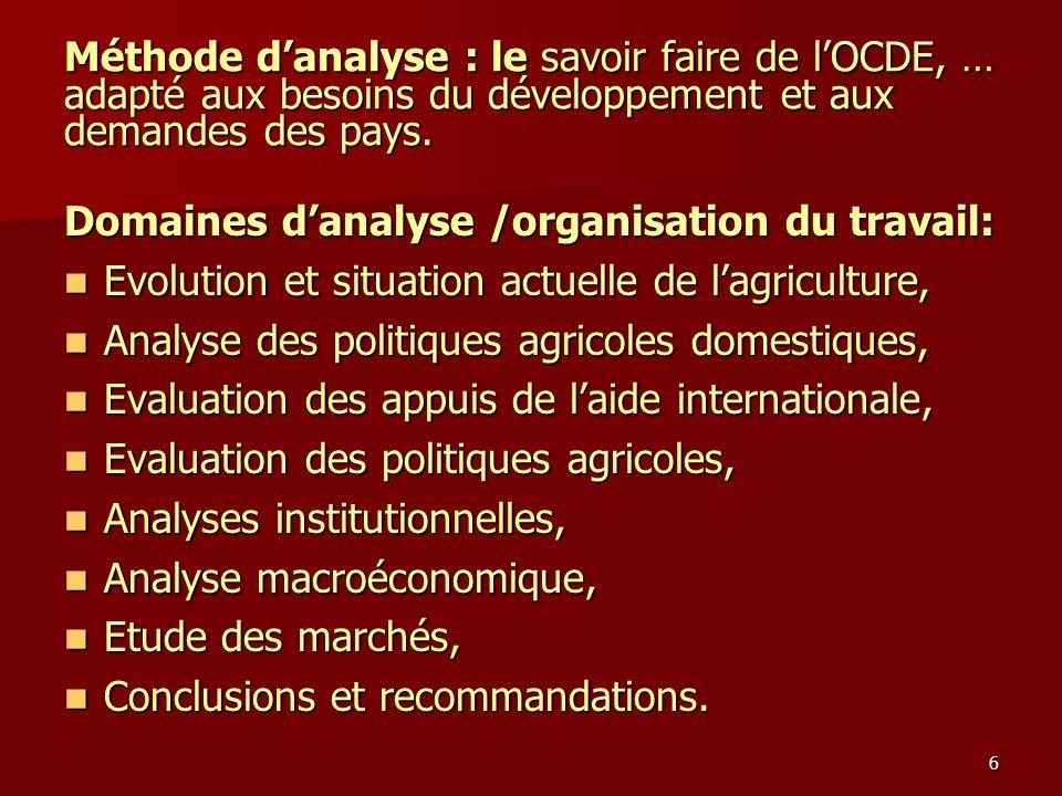 6 Méthode danalyse : le savoir faire de lOCDE, … adapté aux besoins du développement et aux demandes des pays. Domaines danalyse /organisation du trav