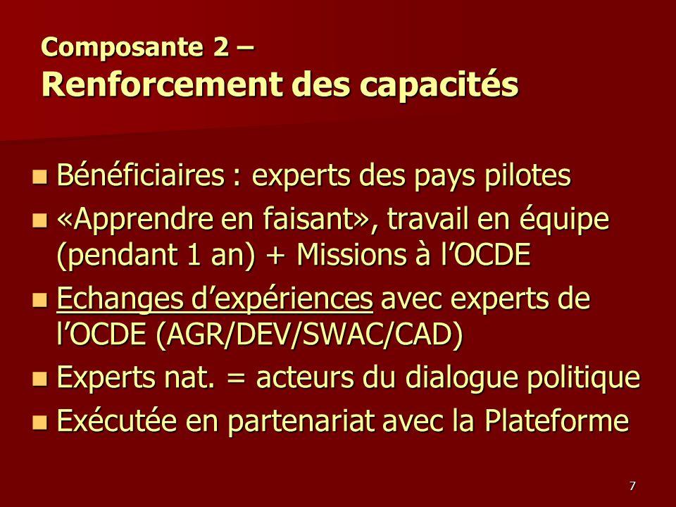7 Composante 2 – Renforcement des capacités Bénéficiaires : experts des pays pilotes Bénéficiaires : experts des pays pilotes «Apprendre en faisant»,
