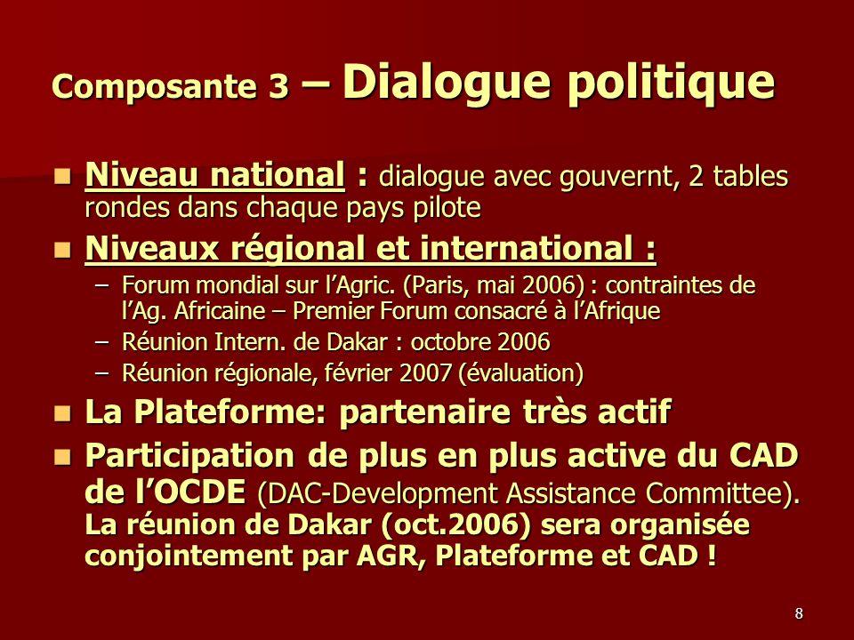 8 Composante 3 – Dialogue politique Niveau national : dialogue avec gouvernt, 2 tables rondes dans chaque pays pilote Niveau national : dialogue avec