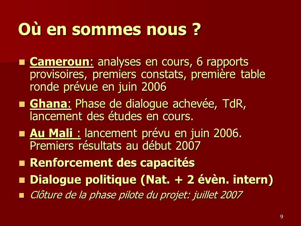 9 Où en sommes nous ? Cameroun: analyses en cours, 6 rapports provisoires, premiers constats, première table ronde prévue en juin 2006 Cameroun: analy