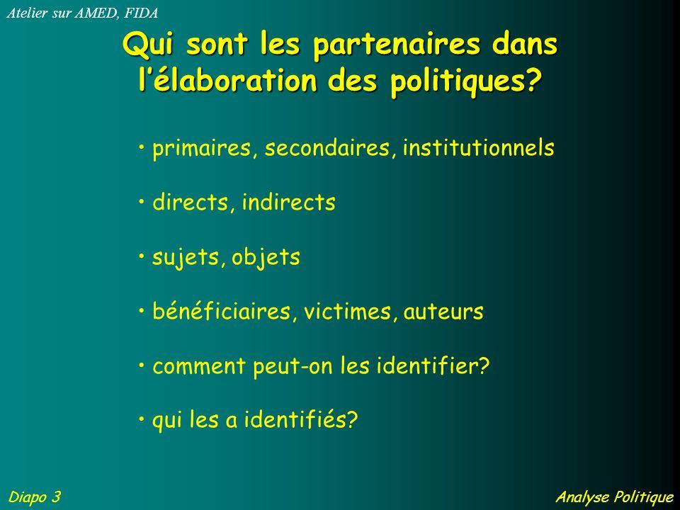 Qui sont les partenaires dans lélaboration des politiques.