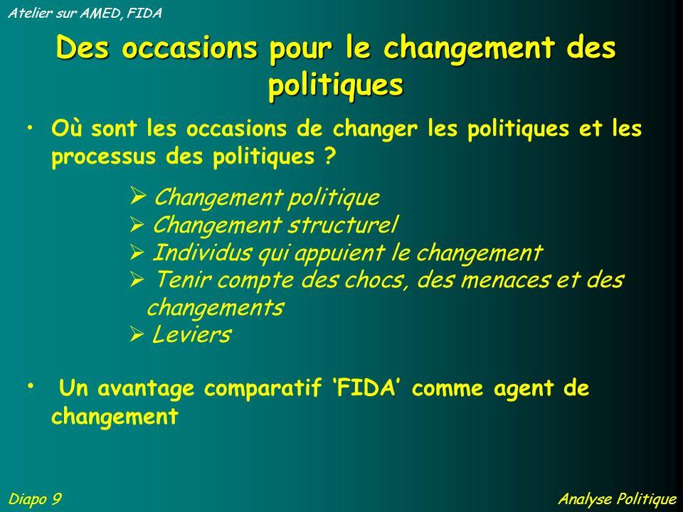Des occasions pour le changement des politiques Où sont les occasions de changer les politiques et les processus des politiques .