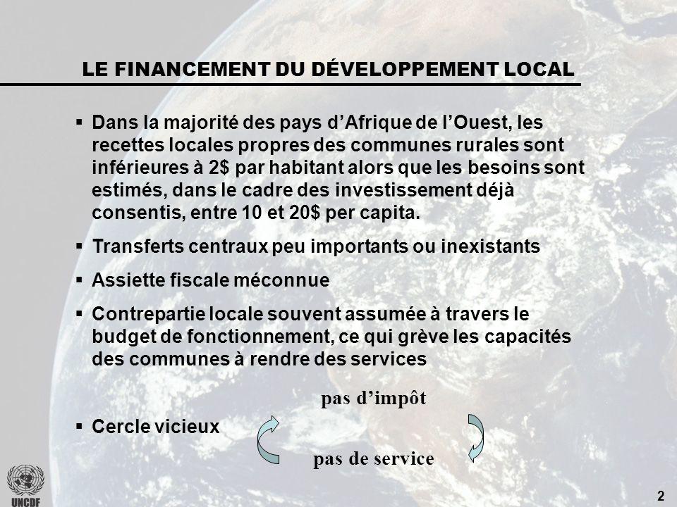 2 Dans la majorité des pays dAfrique de lOuest, les recettes locales propres des communes rurales sont inférieures à 2$ par habitant alors que les besoins sont estimés, dans le cadre des investissement déjà consentis, entre 10 et 20$ per capita.