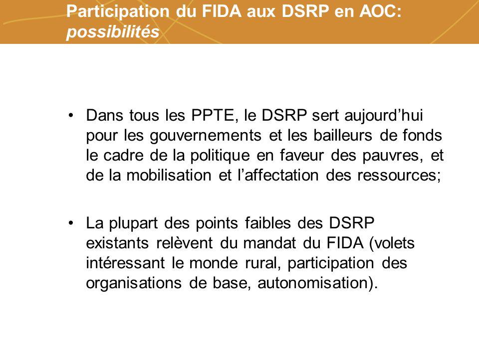 Farmers organizations, policies and markets Participation du FIDA aux DSRP en AOC: possibilités Dans tous les PPTE, le DSRP sert aujourdhui pour les g