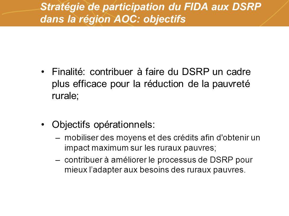 Farmers organizations, policies and markets Stratégie de participation du FIDA aux DSRP dans la région AOC: objectifs Finalité: contribuer à faire du