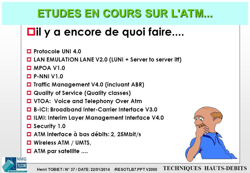 Henri TOBIET / N° 36 / DATE: 22/01/2014 /RESOTLB7.PPT V2000 TECHNIQUES HAUTS-DEBITS PROTOCOLES UNI: SIGNALISATION WAN TERMINAL APPELANT TERMINAL APPEL