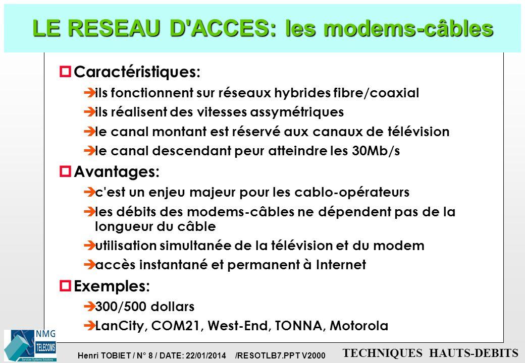 Henri TOBIET / N° 7 / DATE: 22/01/2014 /RESOTLB7.PPT V2000 TECHNIQUES HAUTS-DEBITS LE RESEAU D'ACCES: la technique ADSL p ADSL permet de transformer l