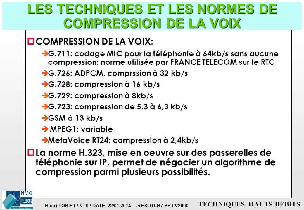 Henri TOBIET / N° 8 / DATE: 22/01/2014 /RESOTLB7.PPT V2000 TECHNIQUES HAUTS-DEBITS LE RESEAU D'ACCES: les modems-câbles p Caractéristiques: è ils fonc