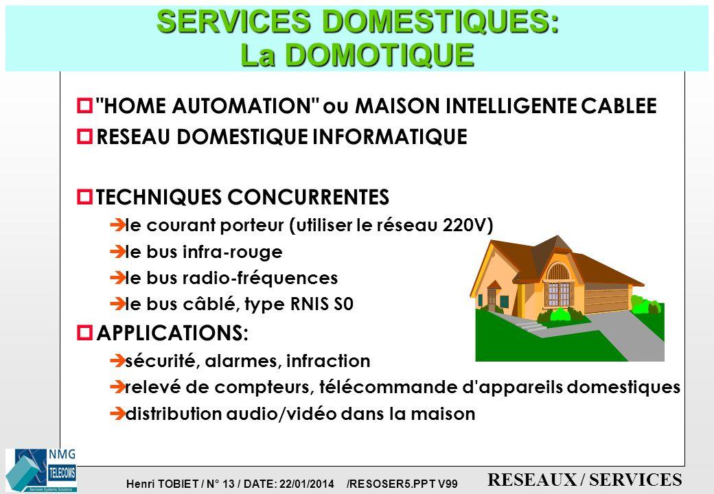 Henri TOBIET / N° 12 / DATE: 22/01/2014 /RESOSER5.PPT V99 RESEAUX / SERVICES SERVICES TRADITIONNELS: TELETEL/MINITEL: l ancêtre de l INTERNET INFORMATION BRUTE DE BASE PRODUCTEUR DE LA BASE: plus de 12 000 SERVEUR: TELETEL, FRANCE TELECOM TPC + RTC MINITEL ou PC émulant le MINITEL ( 6 millions) EX: ANNUAIRE LE 11 METEO, HOTELS, TRANSPORTS PETITES ANNONCES, MINITEL ROSE,...