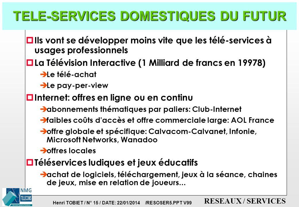 Henri TOBIET / N° 14 / DATE: 22/01/2014 /RESOSER5.PPT V99 RESEAUX / SERVICES SERVICES DOMESTIQUES: PRINCIPES DE L INTERNET p PRINCIPE DE BASE: INTERCONNECTIVITE UNIVERSELLE DE TOUS TYPES DE SOUS-RESEAUX: è protocoles communs à toutes les applications TCP/IP (stable depuis 1983, dans les LANS) è adressage de bout-en-bout, adresse IP (h.tobiet@clemessy.fr) è contrôle du protocole de bout-en-bout dans les terminaux: ne jamais mettre dans le réseau des fonctions que peuvent réaliser les terminaux .