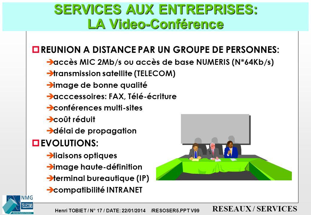 Henri TOBIET / N° 16 / DATE: 22/01/2014 /RESOSER5.PPT V99 RESEAUX / SERVICES SERVICES AUX ENTREPRISES: DEFINITION DE L INTRANET p INTRANET = INTERNET d ENTREPRISE p C est l ensemble des mécanismes INTERNET (technologie WEB, protocoles TCP/IP) appliqués au réseau interne de l entreprise ou à un réseau de ressources informatiques réparties.
