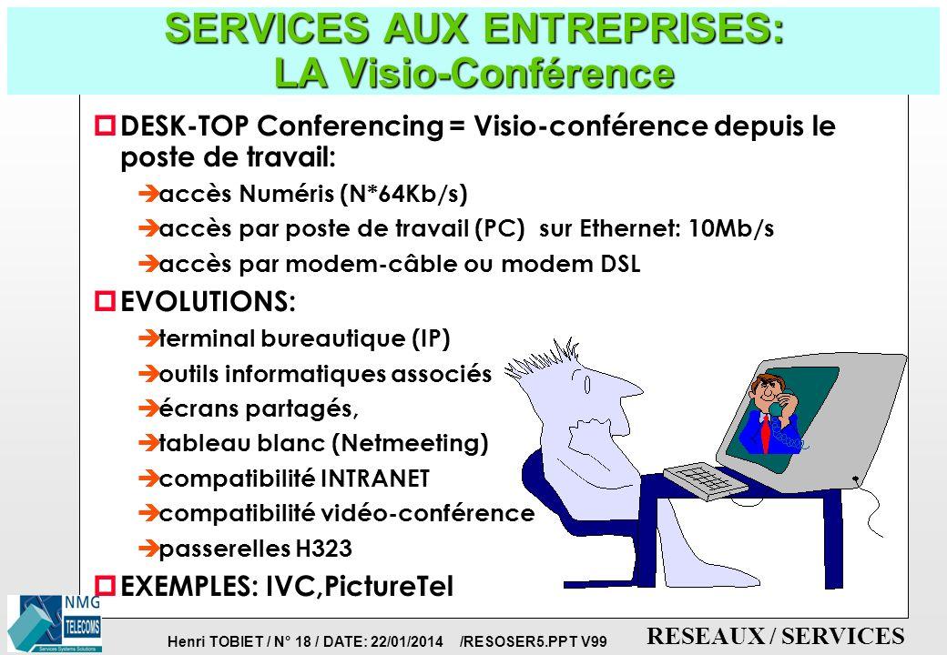 Henri TOBIET / N° 17 / DATE: 22/01/2014 /RESOSER5.PPT V99 RESEAUX / SERVICES SERVICES AUX ENTREPRISES: LA Video-Conférence p REUNION A DISTANCE PAR UN GROUPE DE PERSONNES: è accès MIC 2Mb/s ou accès de base NUMERIS (N*64Kb/s) è transmission satellite (TELECOM) è image de bonne qualité è acccessoires: FAX, Télé-écriture è conférences multi-sites è coût réduit è délai de propagation p EVOLUTIONS: è liaisons optiques è image haute-définition è terminal bureautique (IP) è compatibilité INTRANET