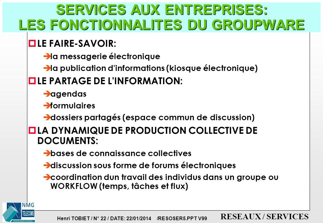 Henri TOBIET / N° 21 / DATE: 22/01/2014 /RESOSER5.PPT V99 RESEAUX / SERVICES SERVICES AUX ENTREPRISES: LES PRINCIPES DU GROUPWARE p LA MATRICE DE JOHA