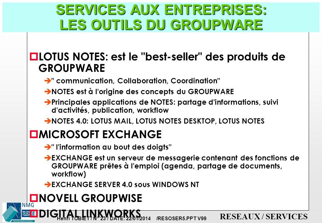 Henri TOBIET / N° 22 / DATE: 22/01/2014 /RESOSER5.PPT V99 RESEAUX / SERVICES SERVICES AUX ENTREPRISES: LES FONCTIONNALITES DU GROUPWARE p LE FAIRE-SAV