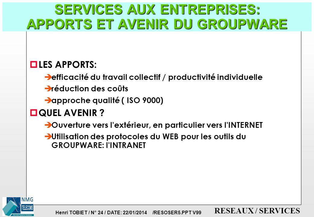 Henri TOBIET / N° 23 / DATE: 22/01/2014 /RESOSER5.PPT V99 RESEAUX / SERVICES SERVICES AUX ENTREPRISES: LES OUTILS DU GROUPWARE p LOTUS NOTES: est le