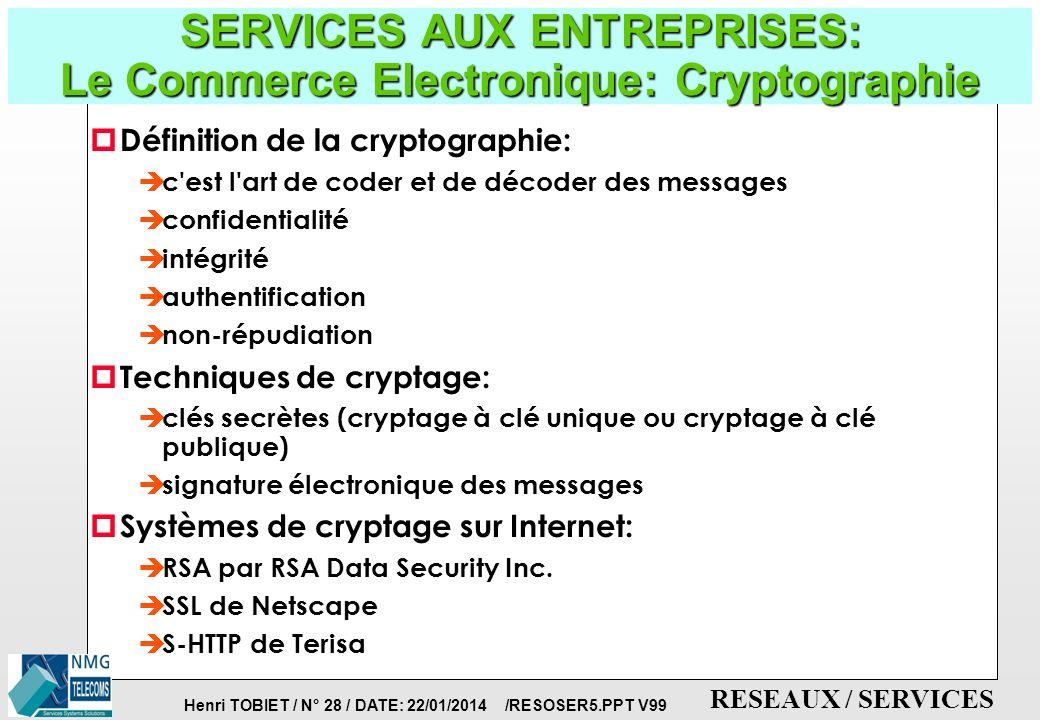 Henri TOBIET / N° 27 / DATE: 22/01/2014 /RESOSER5.PPT V99 RESEAUX / SERVICES SERVICES AUX ENTREPRISES: Applications du Commerce Electronique p Les Gra