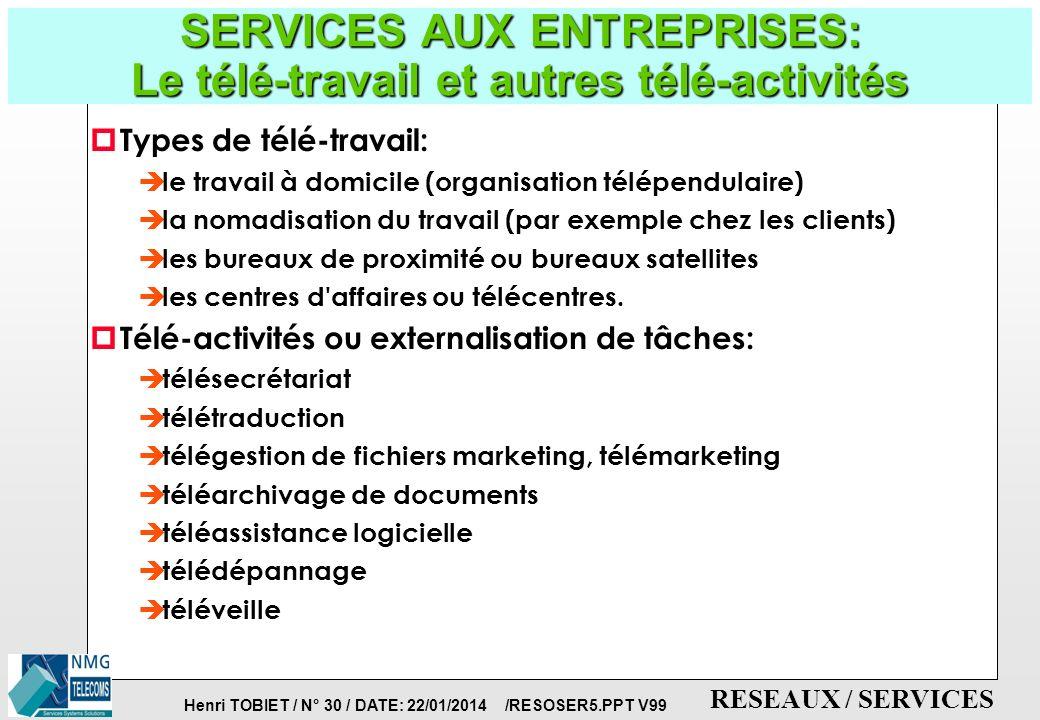 Henri TOBIET / N° 29 / DATE: 22/01/2014 /RESOSER5.PPT V99 RESEAUX / SERVICES SERVICES AUX ENTREPRISES: Le Commerce Electronique: paiement sur Internet