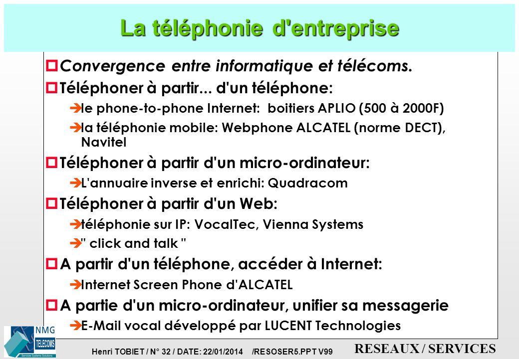 Henri TOBIET / N° 31 / DATE: 22/01/2014 /RESOSER5.PPT V99 RESEAUX / SERVICES SERVICES AUX ENTREPRISES: quelques exemples de télétravail p IBM France compte 2100 nomades.