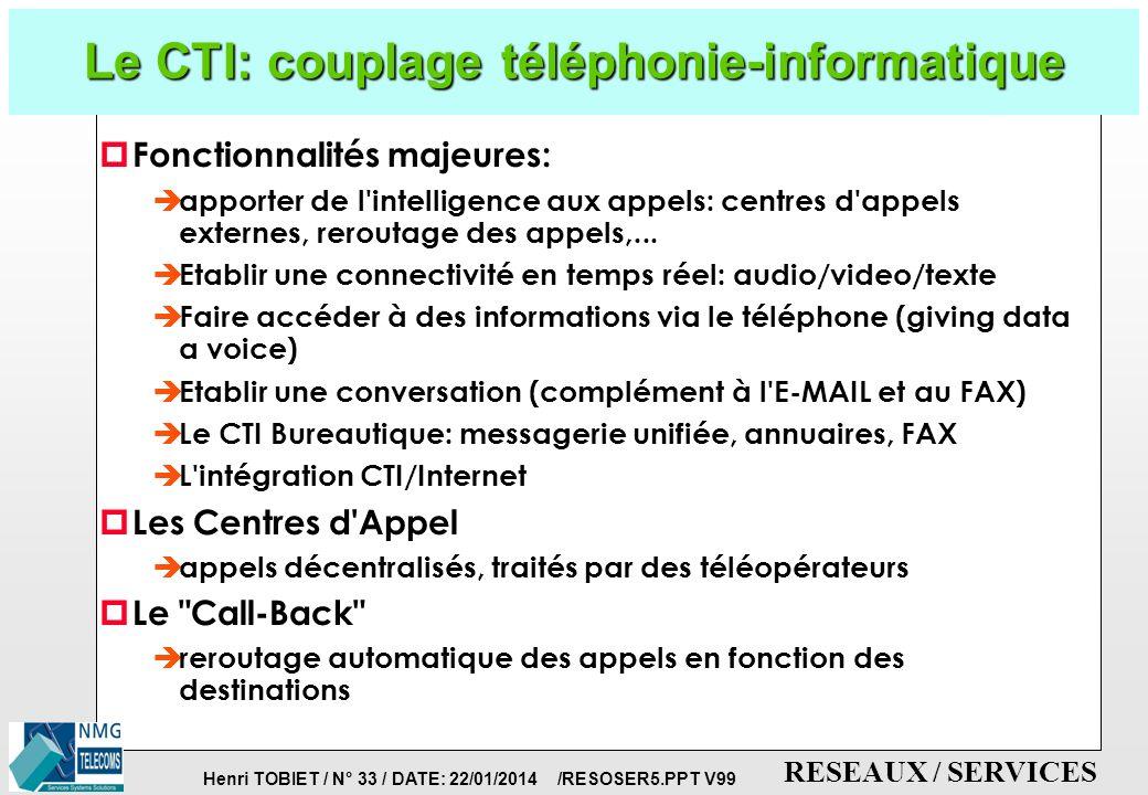 Henri TOBIET / N° 32 / DATE: 22/01/2014 /RESOSER5.PPT V99 RESEAUX / SERVICES La téléphonie d entreprise p Convergence entre informatique et télécoms.