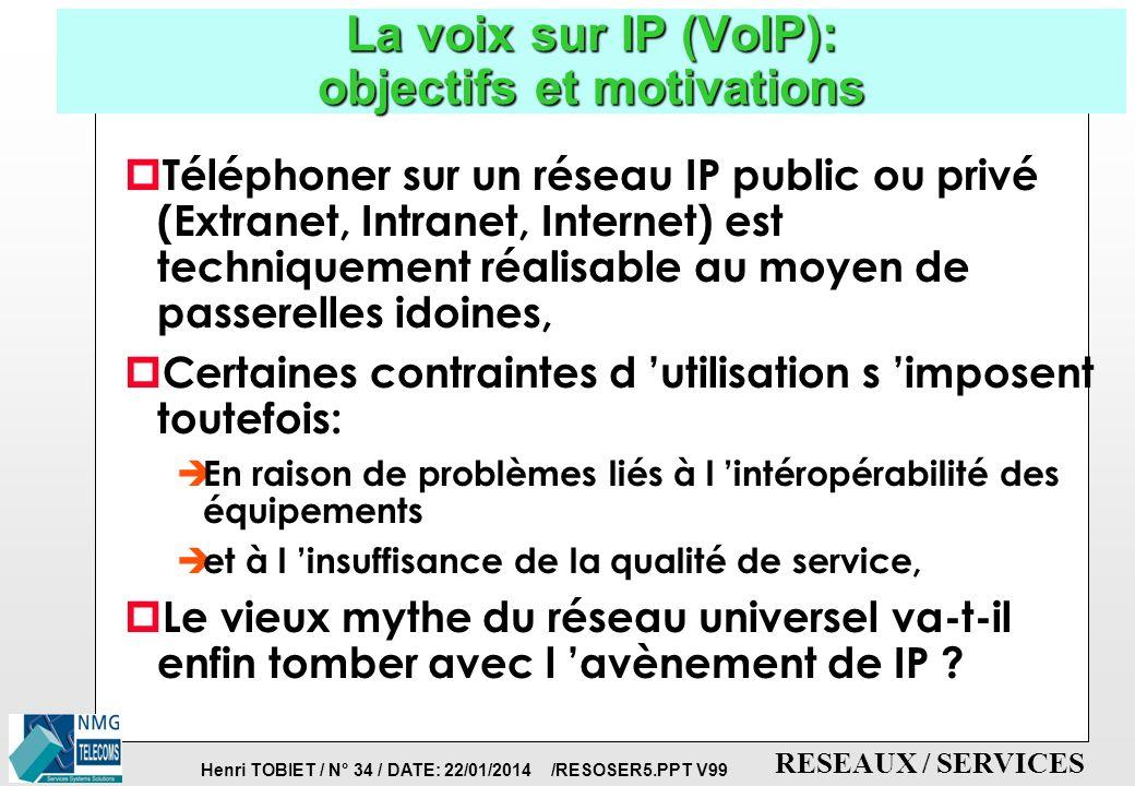 Henri TOBIET / N° 33 / DATE: 22/01/2014 /RESOSER5.PPT V99 RESEAUX / SERVICES Le CTI: couplage téléphonie-informatique p Fonctionnalités majeures: è apporter de l intelligence aux appels: centres d appels externes, reroutage des appels,...