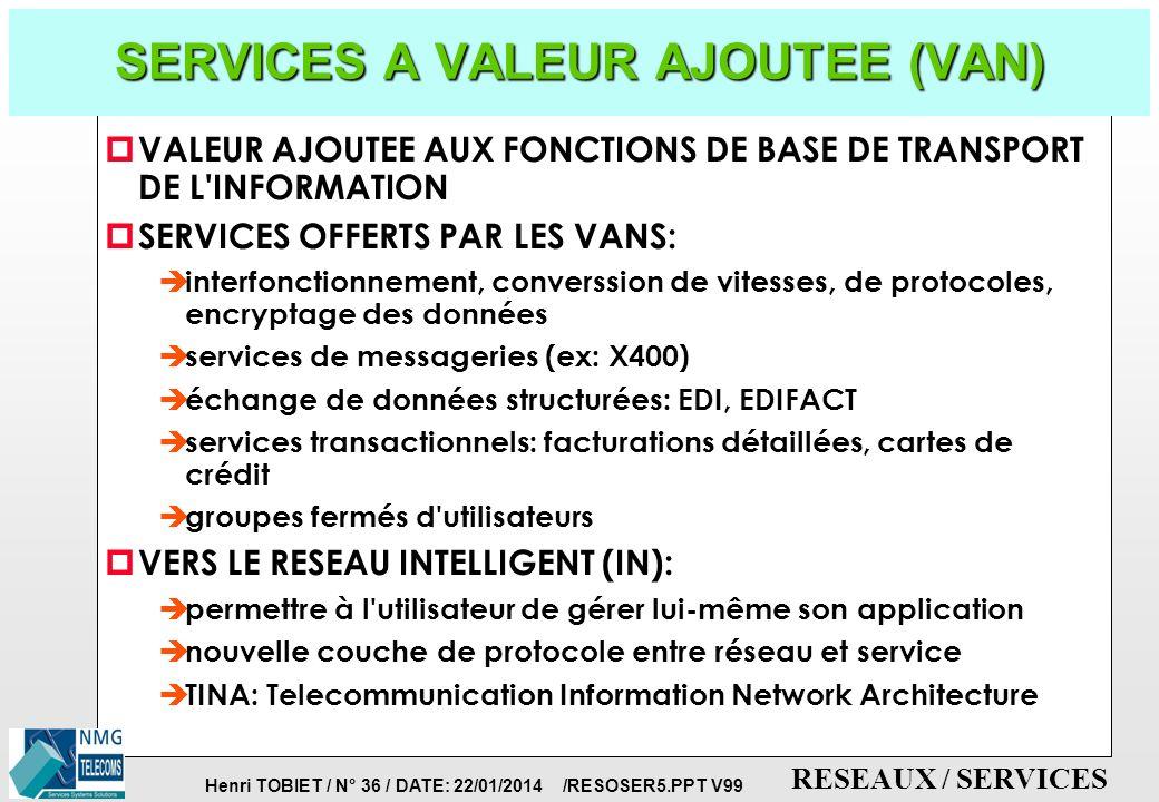 Henri TOBIET / N° 35 / DATE: 22/01/2014 /RESOSER5.PPT V99 RESEAUX / SERVICES VoIP: la connexion du réseau commuté et du réseau de données PASSERELLE Réseau IP ( réseaux numériques avec voix paquettisée ) RNIS: accès de base et accès primaire Interfaces analogiques Voix sur LS (G.703) ETHERNET (LAN) Frame- Relay ATM