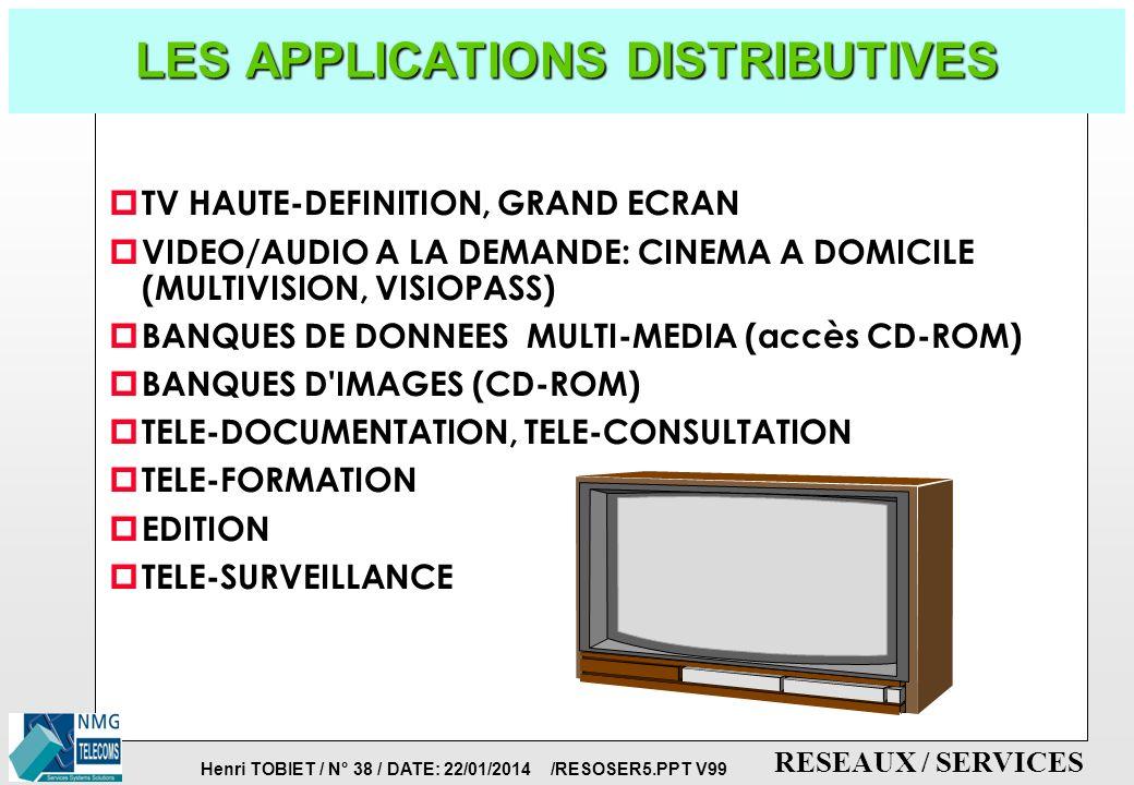 Henri TOBIET / N° 37 / DATE: 22/01/2014 /RESOSER5.PPT V99 RESEAUX / SERVICES SERVICES LARGE-BANDE DU FUTUR p COMPOSANTES VOIX, DONNEES, VIDEO