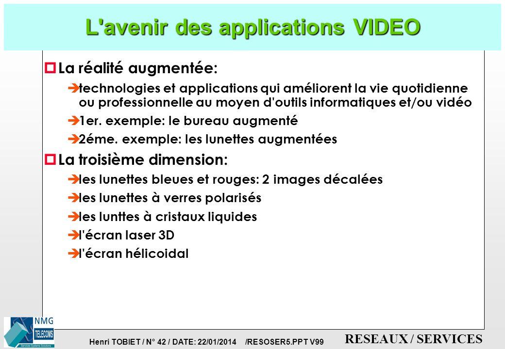 Henri TOBIET / N° 41 / DATE: 22/01/2014 /RESOSER5.PPT V99 RESEAUX / SERVICES Les Nouvelles Applications de la VIDEO: La Video à la Demande (VOD) p Qu est-ce que la VOD.