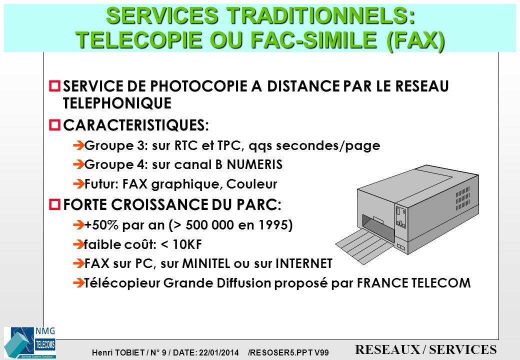 Henri TOBIET / N° 8 / DATE: 22/01/2014 /RESOSER5.PPT V99 RESEAUX / SERVICES SERVICES PRODUCTIQUE: LA PYRAMIDE CIM fichiers tables, fichiers variables, évènements octets bits TYPES DE MESSAGES heures/jours secondes/ minutes secondes x100 ms milli-seconde TEMPS DE REACTION 0 1 2 3 4